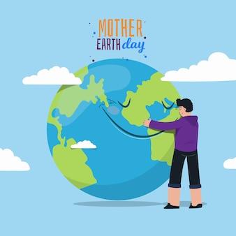 Dia da mãe terra com homem abraçando o planeta