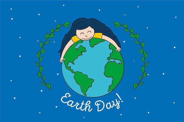 Dia da mãe terra com menina abraçando a terra