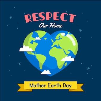 Dia da mãe terra com planeta em forma de coração