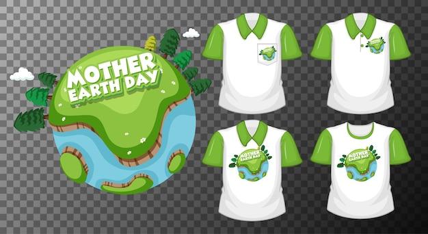 Dia da mãe terra com um conjunto de diferentes camisas isoladas em transparente