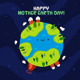 Dia da mãe terra desenhada mão ilustrado