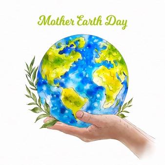 Dia da mãe terra em aquarela