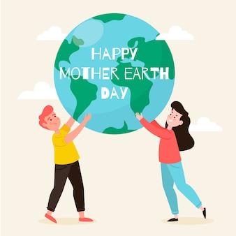 Dia da mãe terra em design plano