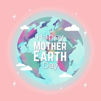 Dia da mãe terra estilo aquarela