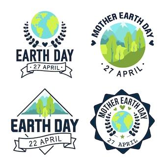 Dia da mãe terra logotipo. estilo de ilustração