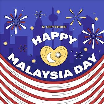 Dia da malásia com bandeira e fogos de artifício