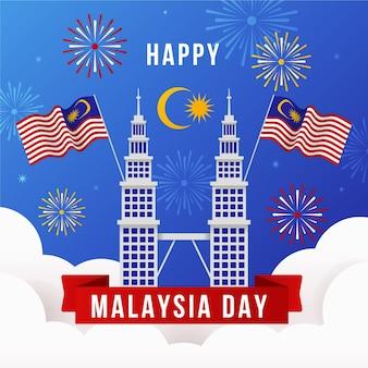 Dia da malásia com fogos de artifício