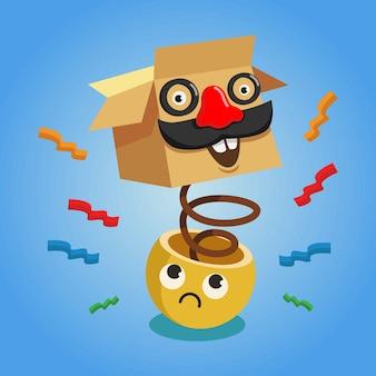 Dia da mentira com caixa e personagem emoticon