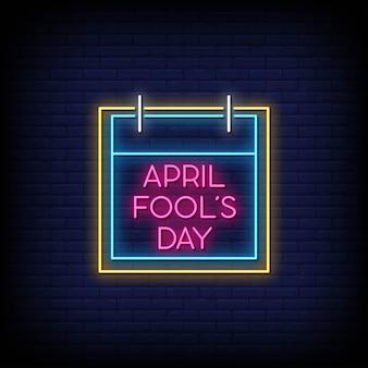Dia da mentira de abril sinais de néon estilo texto