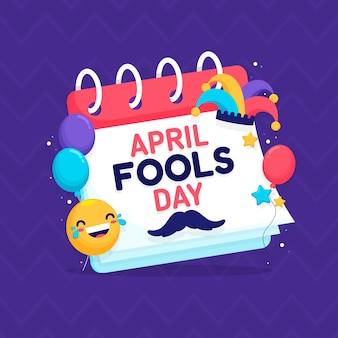 Dia da mentira e calendário com balões