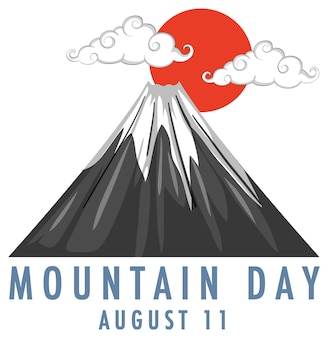 Dia da montanha no japão em 11 de agosto banner com o monte fuji