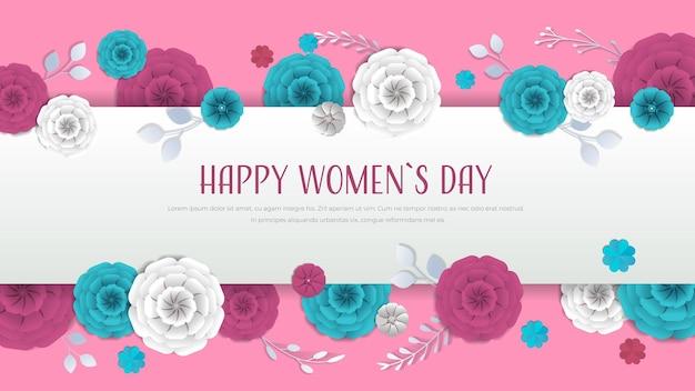 Dia da mulher 8 de março feriado celebração banner panfleto ou cartão com flores de papel decorativas renderização 3d ilustração horizontal