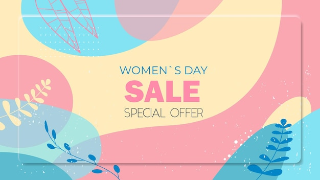 Dia da mulher 8 de março feriado celebração folheto vibrante ou cartão comemorativo com folhas decorativas e texturas desenhadas à mão ilustração horizontal