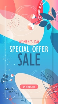 Dia da mulher 8 de março feriado celebração folheto vibrante ou cartão comemorativo com folhas decorativas e texturas desenhadas à mão ilustração vertical