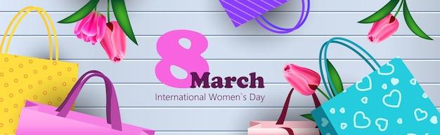 Dia da mulher 8 de março feriado celebração venda banner flyer ou cartão com flores e sacolas de compras ilustração horizontal