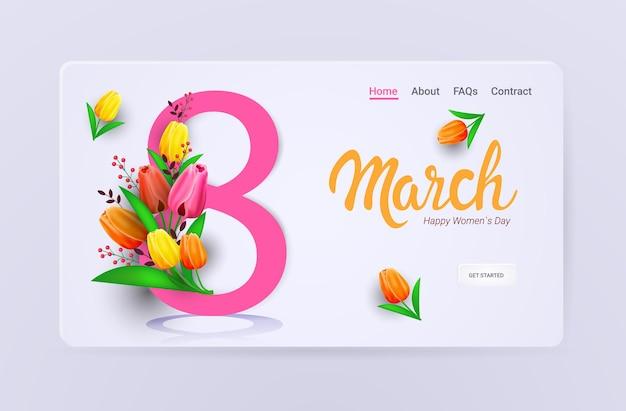 Dia da mulher 8 de março feriado celebração venda banner flyer ou cartão com flores