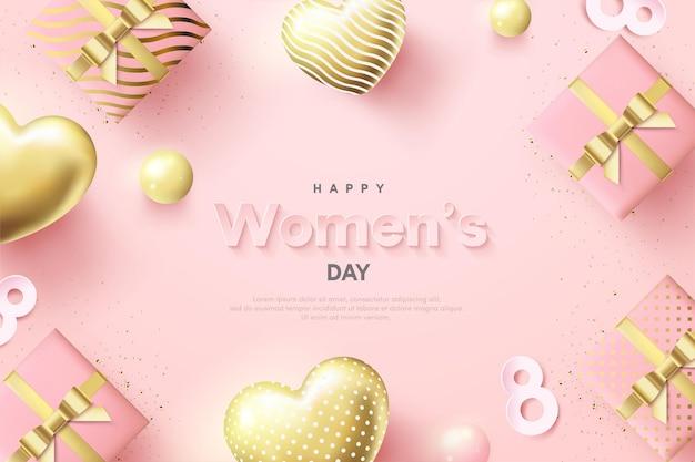 Dia da mulher com balões de amor e caixas de presente 3d.