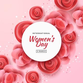 Dia da mulher com fundo de rosas