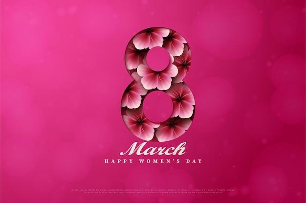 Dia da mulher com ilustração da figura 8 recortada e cheia de flores.