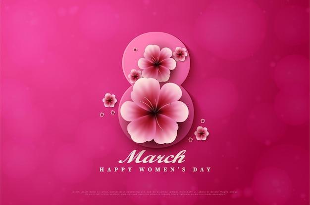 Dia da mulher com ilustração do número 8 coberto de flores.