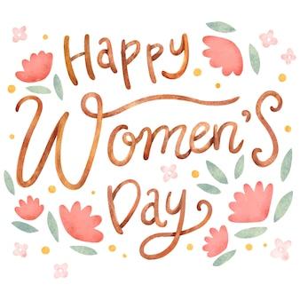 Dia da mulher com letras em aquarela