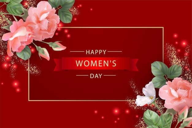Dia da mulher com moldura dourada e lindas rosas