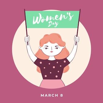 Dia da mulher com mulher segurando placa