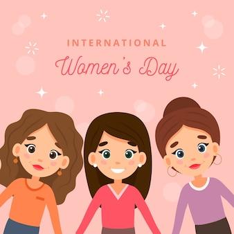 Dia da mulher com mulheres dos desenhos animados