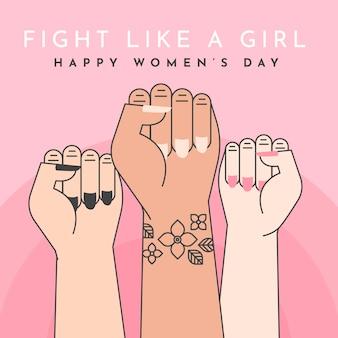 Dia da mulher com punhos para cima