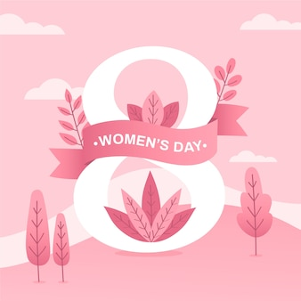 Dia da mulher com rosa árvores e folhas