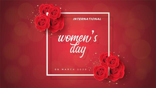 Dia da mulher com rosas vermelhas 3d e escrita branca.