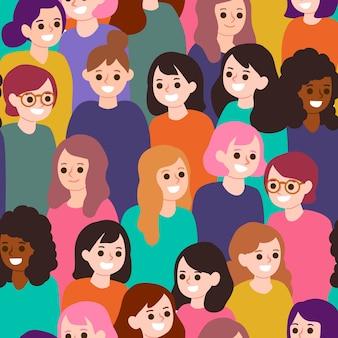 Dia da mulher com rostos de mulheres