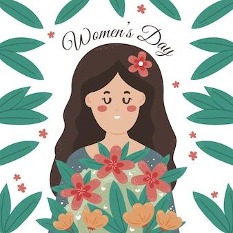 Dia da mulher desenhada de mão