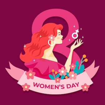 Dia da mulher em design plano