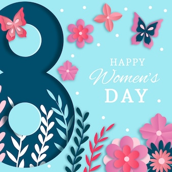 Dia da mulher em estilo de jornal com borboletas