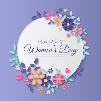 Dia da mulher em estilo de papel com flores