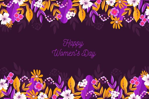 Dia da mulher feliz colorido com flores