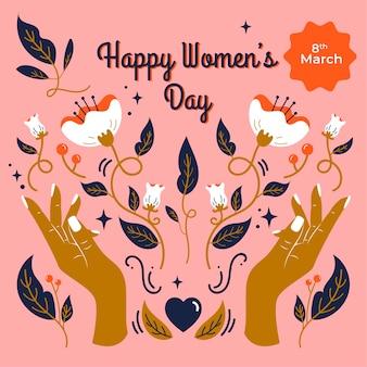 Dia da mulher floral com as mãos