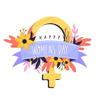 Dia da mulher floral com símbolo de mulheres