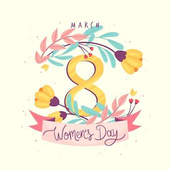 Dia da mulher floral com símbolo