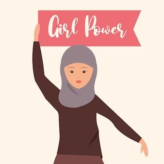 Dia da mulher, mulher com roupas islâmicas segurando uma ilustração da bandeira porwe de menina