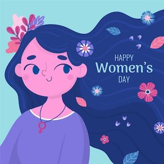 Dia da mulher na mão desenhada