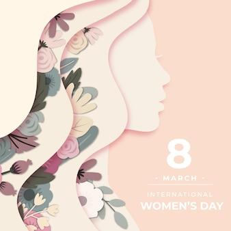 Dia da mulher no tema do estilo de papel