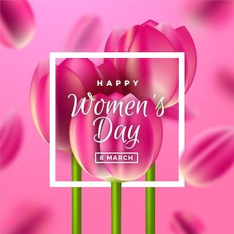 Dia da mulher realista com tulipas