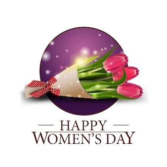 Dia da mulher rodada banner com buquê de tulipas