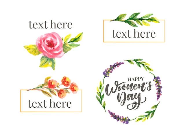 Dia da mulher s design de texto com flores