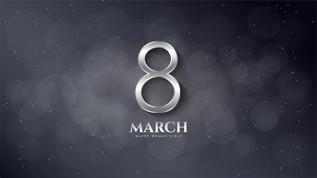 Dia da mulher, um dos número 8 de cor prata em um borrão preto.