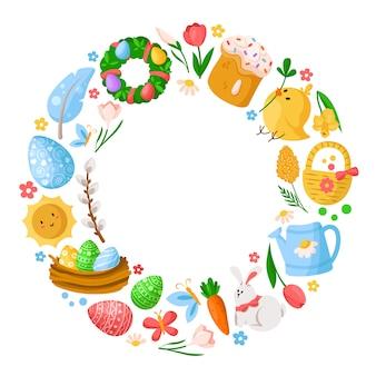 Dia da páscoa dos desenhos animados redondo frame ou círculo, ovos de páscoa, flores da primavera, coelho, galinha, ramo de salgueiro, guirlanda floral