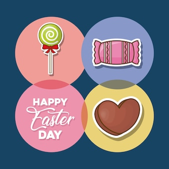 Dia da páscoa feliz com ícone de doces em círculos e fundo azul