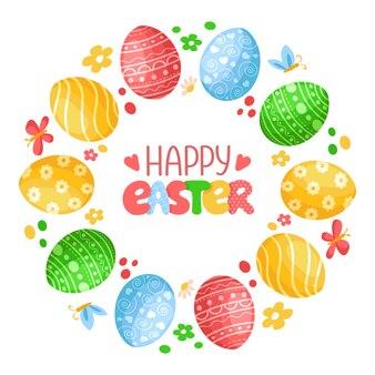 Dia da páscoa - grinalda decorativa ou moldura redonda com ovos de páscoa, borboleta, flores e letras manuscritas